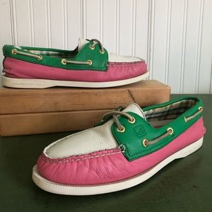 Sperry Retro Preppy Boat Shoes Pink Green & White